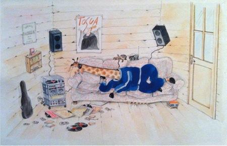 Palmira, la jirafa que le gusta la musica