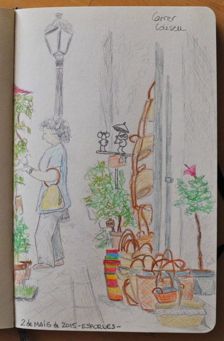 Dibujando en la calle Coliseu de Esporles