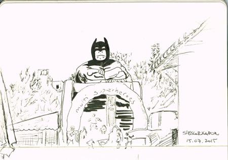 Dibujando a Batman en S'Escorxador