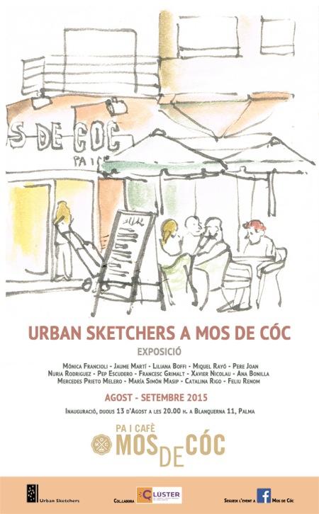 Cartel de la exposición de los Urban Sketchers en Mos de Cóc